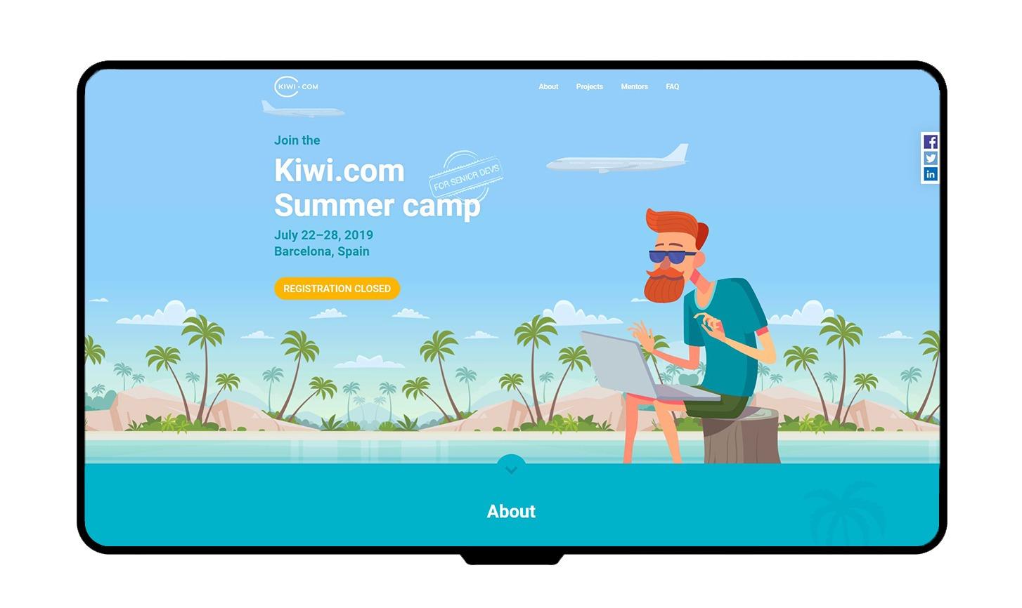 Kiwi.com - Summer camp mockup