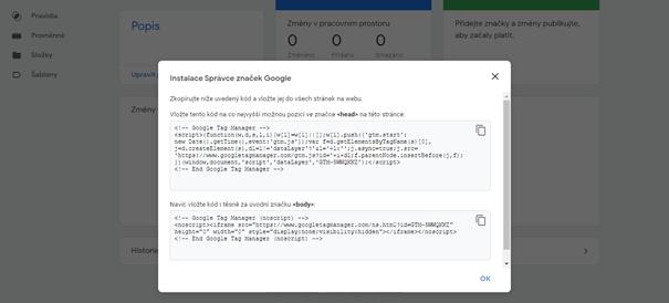 Google Tag Manager - instalační kód