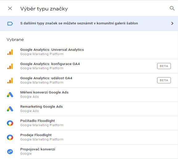 Výběr značky/tagu v rozhraní Google Tag Manager