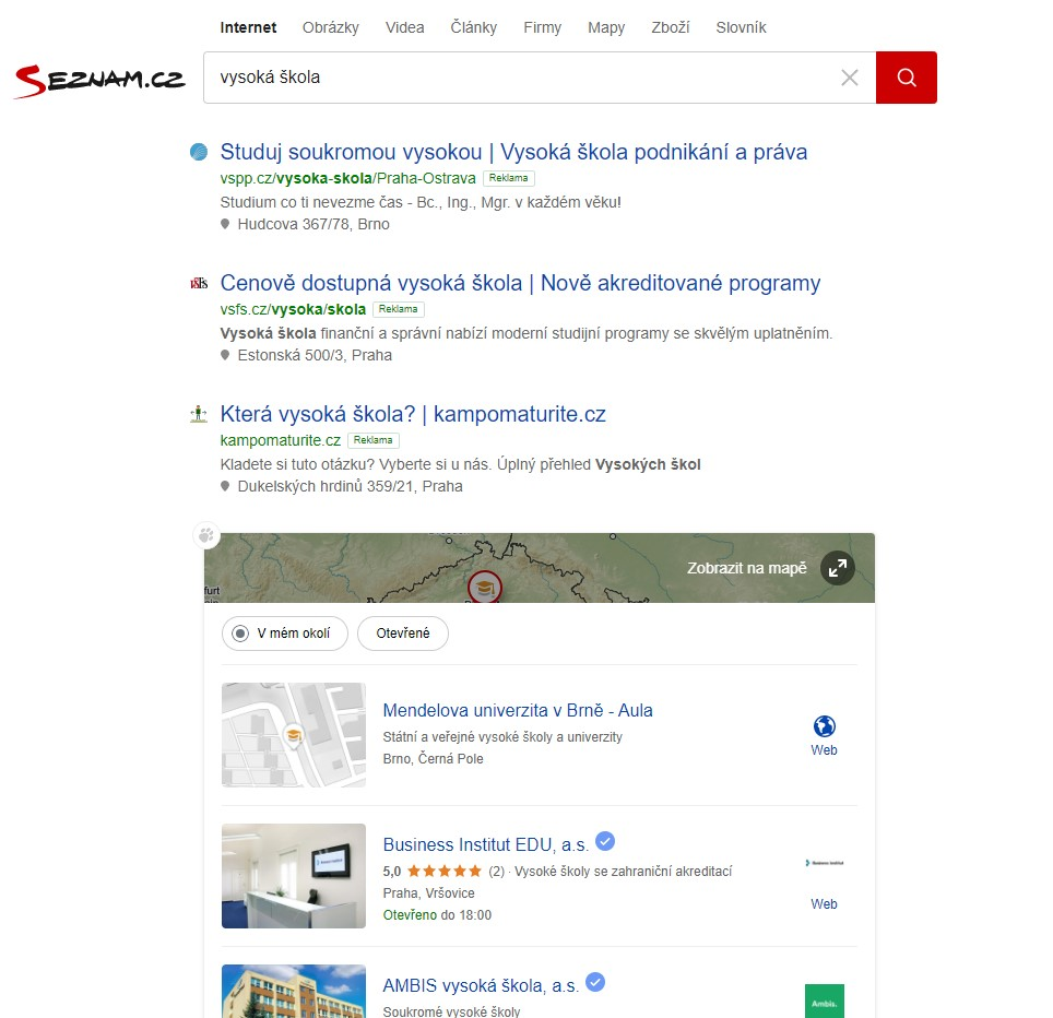 Vyhledávací reklamy Seznam